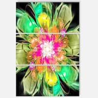 Green Fractal Flower Petals Close-up - Floral Metal Wall Art - 36Wx28H