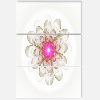 Simple White Pink Fractal Flower Art - Floral Glossy Metal Wall Art - 36Wx28H