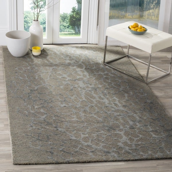 Safavieh Handmade Blossom Abstract Grey / Grey Wool Rug (4' x 6')