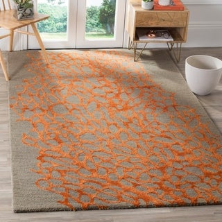 Safavieh Handmade Blossom Abstract Grey / Orange Wool Rug (4' x 6')