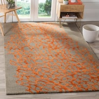 Safavieh Handmade Blossom Abstract Grey / Orange Wool Rug (4' x 6')