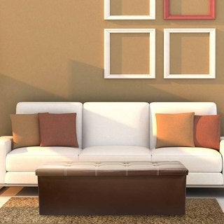 Sobus Brown Faux Leather Folding Storage Ottoman Bench