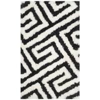 Safavieh Handmade Barcelona Shag Graphite Grey/ White Greek Key Polyester Rug - 3' x 5'