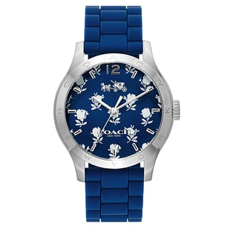 Coach Women's Blue/Silvertone Rubber/Stainless Steel Fashion Watch