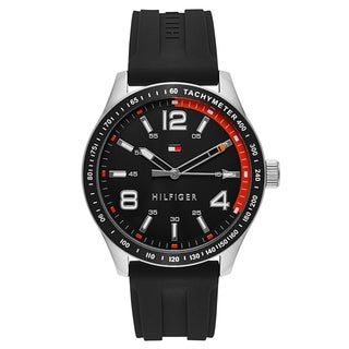 Tommy Hilfiger Men's Black Rubber/Stainless Steel Fashion Watch