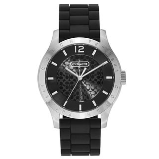 Coach Women's Black/Silvertone Rubber/Stainless Steel Fashion Watch