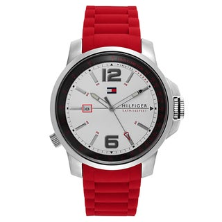 Tommy Hilfiger Silvertone/Red Stainless Steel/Rubber Men's Watch