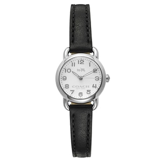 Coach Silvertone/Black Stainless Steel/Leather Women's Watch