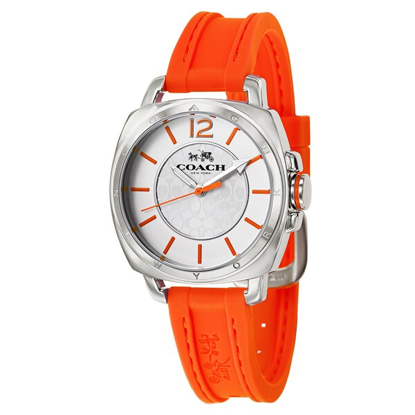 Coach Orange Stainless Steel Women's Orange Rubber Strap Watch