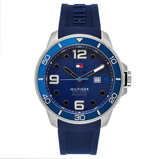 Tommy Hilfiger Silvertone/Blue Stainless Steel Men's Watch