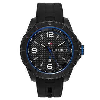 Tommy Hilfiger Men's Black and Blue Rubber and Stainless Steel Quartz Watch
