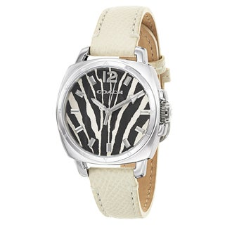 Coach Women's White Leather Strap Stainless Steel Quartz Watch