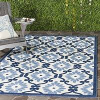 Safavieh Indoor / Outdoor Cottage Ogee Ivory / Blue Rug - 3' 3 x 5' 3