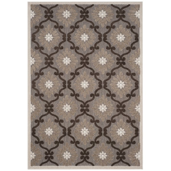 Safavieh Indoor / Outdoor Cottage Ogee Light Brown / Brown Rug - 3' 3 x 5' 3