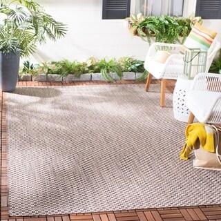 Safavieh Indoor / Outdoor Courtyard Light Brown / Light Grey Rug (4' x 6')