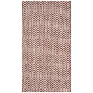 Safavieh Indoor / Outdoor Courtyard Rust / Light Grey Rug (3' x 5')