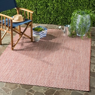 Safavieh Indoor / Outdoor Courtyard Rust / Light Grey Rug (4' x 6')