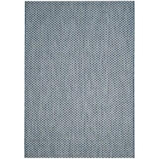 Safavieh Indoor / Outdoor Courtyard Blue / Light Grey Rug (3' x 5')