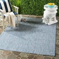 """Safavieh Indoor / Outdoor Courtyard Blue / Light Grey Rug - 4' x 5'7"""""""