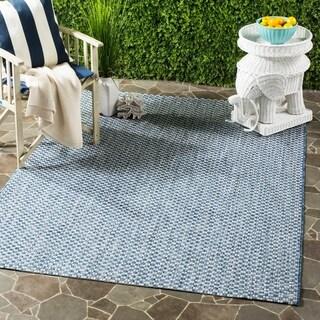 Safavieh Indoor / Outdoor Courtyard Blue / Light Grey Rug - 4' x 5' 5'
