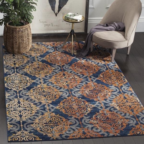 Safavieh evoke vintage damask blue orange distressed rug 4 x 6 free shipping today
