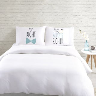 HipStyle Mr. Right White Cotton Printed Pillowcase Pair