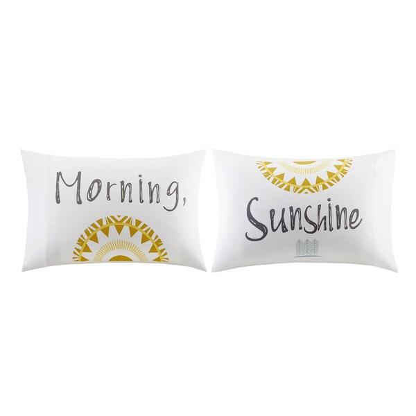 HipStyle Morning Sunshine White Cotton Printed Pillowcase Pair