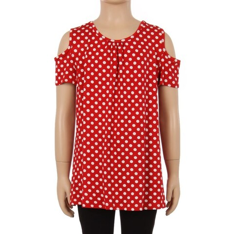 Kid's White/Red/Black Polyester and Spandex Polka Dot Cutout Top