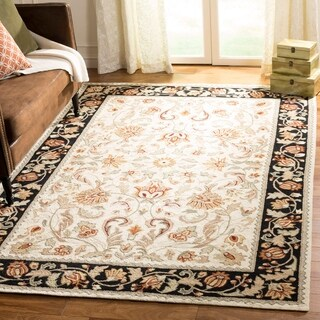 Safavieh Hand-hooked Easy to Care Black / Ivory Rug (3' x 6')