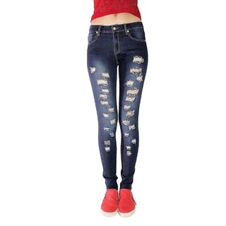 Juniors' Blue Denim Distressed Rips And Tears Skinny Jeans