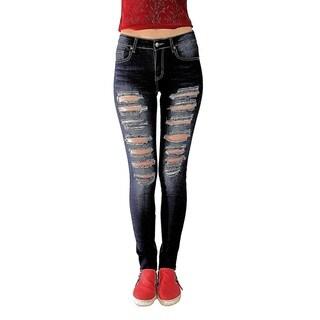 Juniors' Girl's Blue Denim/Cotton/Spandex Distressed Skinny Jeans