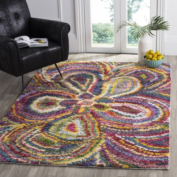 shop safavieh fiesta shag abstract floral multicolored rug 3 39 x 5 39 free shipping today. Black Bedroom Furniture Sets. Home Design Ideas