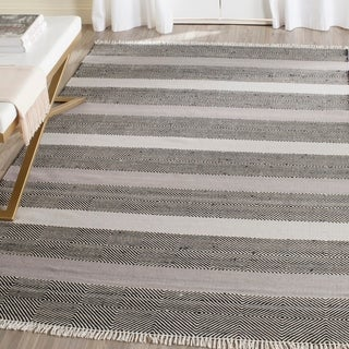 Safavieh Hand-Woven Kilim Flatweave Grey / Black Wool / Cotton Rug (4' x 6')