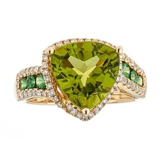 14K Yellow Gold Peridot, Tsavorite and Diamond Ring by Anika and August
