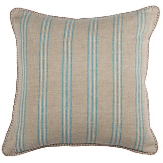 Kosas Home Amanda Natural and Pacific Blue Striped Linen Feather and Down-filled 22-inch x 22-inch Throw Pillow