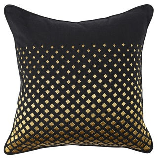 Kosas Home Dorothy Black/Gold Slub Cotton 22-inch Hand-Embroidered Feather/Down-filled Throw Pillow