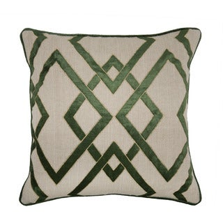 Kosas Collections Anna Dark Olive Cotton/Linen Herringbone Feather/Down-filled 22-inch x 22-inch Throw Pillow