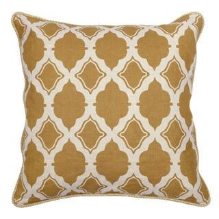 Kosas Home Sandra White/Gold Linen 22-inch Throw Pillow
