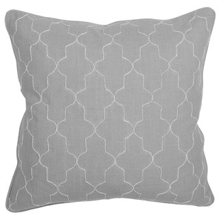 Kosas Home Sierra Grey Hand-embroidered Textured Slub Cotton 22-inch x 22-inch Throw Pillow