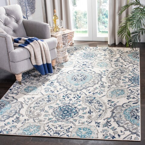 Safavieh Madison Paisley Cream/ Light Grey Rug - 4' x 6'