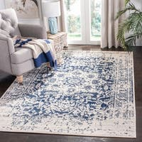 Safavieh Madison Vintage Medallion Cream/ Navy Distressed Rug - 3' x 5'