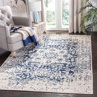 Safavieh Madison Vintage Medallion Cream/ Navy Distressed Rug (3' x 5')