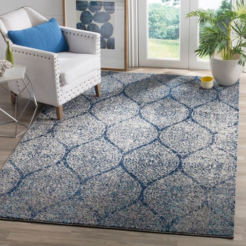 Safavieh Madison Vintage Navy Silver Distressed Rug 4 X 6