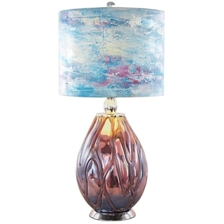 River of Goods Impressionist Collection White/Purple/Teal Glass/Canvas 26-inch Painted Shade Table Lamp
