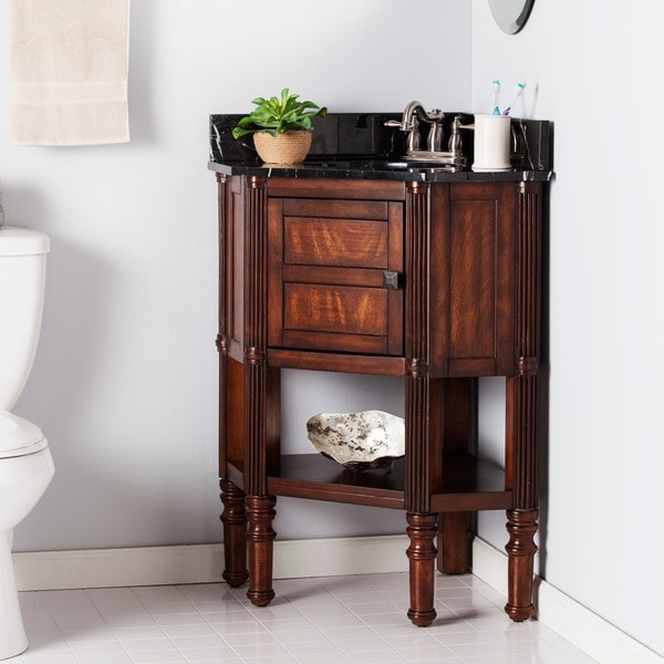 Shop harper blvd bauer marble top corner bath vanity sink - Corner bathroom vanities for sale ...