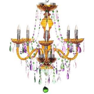 River of Goods Carnival Green/Pink/Purple Crystal/Acrylic 25.5-in High 5-arm Cordless Battery-operated Chandelier with Remote