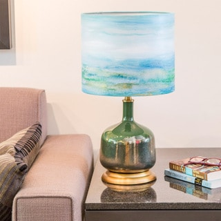 Impressionist Collection 22.25-inch High Coastal Seascape Painted Shade Table Lamp