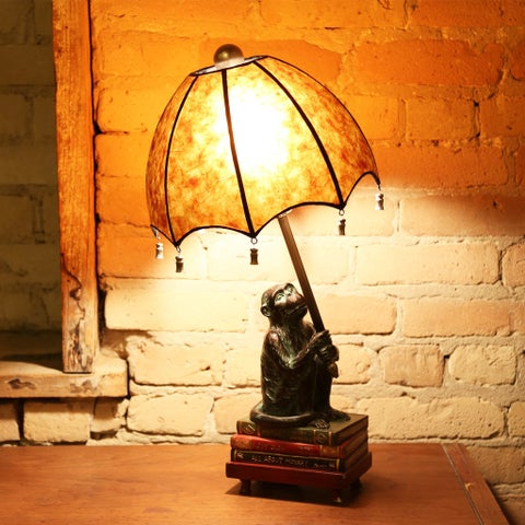 """21.75""""H Intellectual Monkey Table Lamp"""