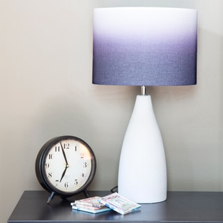 River of Goods Modern Indigo, Purple, and White Ombre Fabric Concrete Base Table Lamp