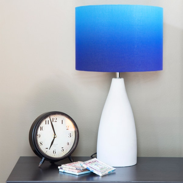 Modern 21.5-inch Blue Ombre Fabric and Concrete Table Lamp
